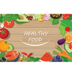 Healthy food frame on wood table vector