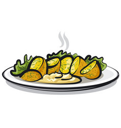 hot boiled potatoes vector image vector image