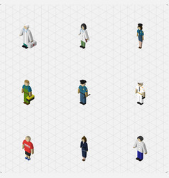 Isometric person set of seaman officer vector