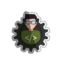 Programmer man faceless glasses vector