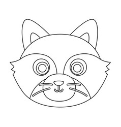raccoon muzzle icon in outline style isolated on vector image