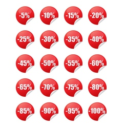 Red discount stickers vector image vector image