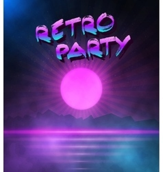 Retro neon background 1980 neon poster retro vector