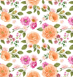 Seamless pattern pink roses vector image vector image