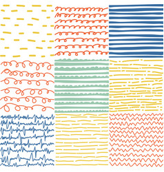 set of abstract seamless patterns of lines vector image vector image