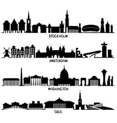 silhouette stockholm amsterdam washington oslo vector image
