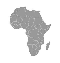 Simple flat grey map of africa continent with vector
