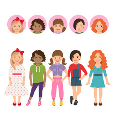 teenage girls with avatar icons set vector image vector image