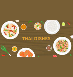 thai dishes on wooden background vector image vector image