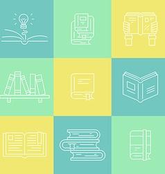 Thin line books vector