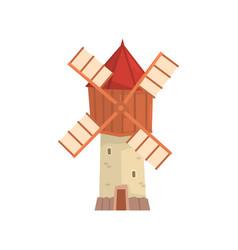 traditional european windmill building cartoon vector image vector image