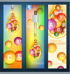 Vitamins vertical banners vector