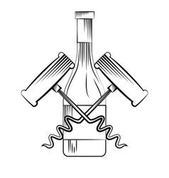 Wine bottle and corkscrew vector