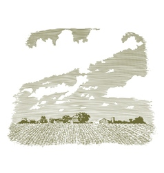 Woodcut kansas farm vector