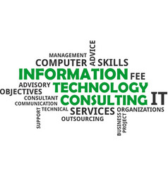 word cloud - information technology consulting vector image vector image