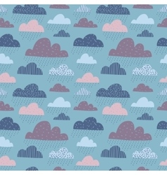 Cute funny clouds seamless pattern vector