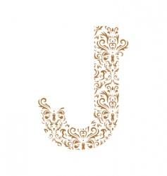 Floral letter j ornament font vector
