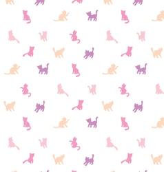 Feminine seamless cat pattern vector