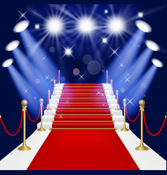 Red carpet with ladder vector