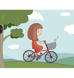 girl riding a bike vector image