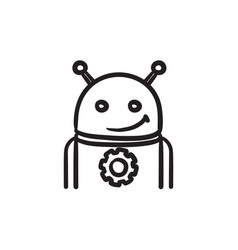 Android with gear sketch icon vector