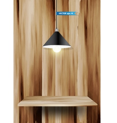 Wood shelf and lamp vector