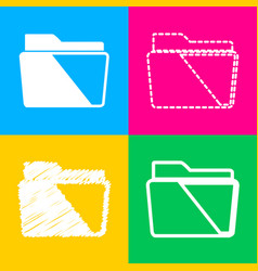 Folder sign  four styles of icon on vector