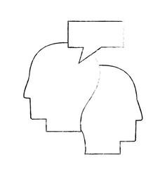 Heads human dialog communication sketch vector