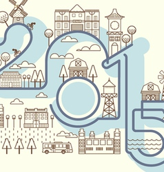 Happy new years building card infographics style vector