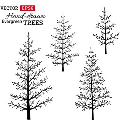 Set of hand-drawn evergreen trees vector