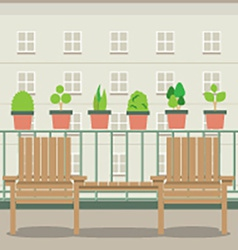 Empty garden chairs at balcony vector