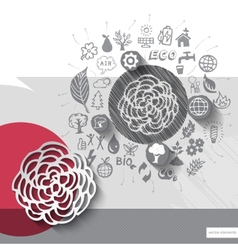 Paper and hand drawn flower emblem with icons vector