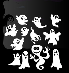 Build a cartoon ghost creation set vector