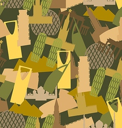 Military camouflage landmark buildings attractions vector