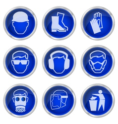 Health and safety buttons vector