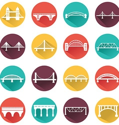 Isolated bridges icons set vector
