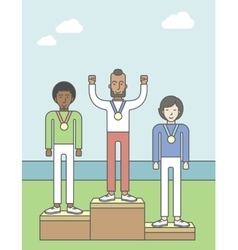 Winners on pedestal vector