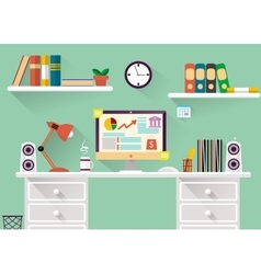 Interior of working place concept in flat design vector