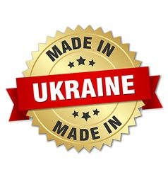 Made in ukraine gold badge with red ribbon vector