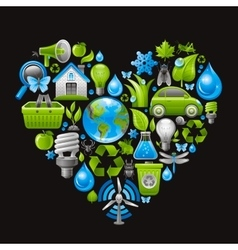 Ecological set with green concept icons in heart vector