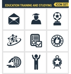 Icons set premium quality of basic education vector