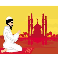 Abstract religious background - muslim man praying vector