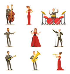 Adult musicians and singers performing a musical vector