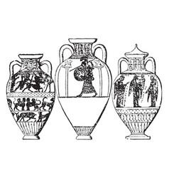 Amphora holds under a half-ton vintage engraving vector