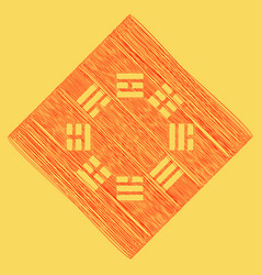 Bagua sign red scribble icon obtained as vector
