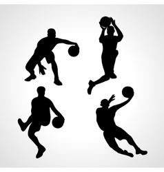 Basketball players collection vector image vector image