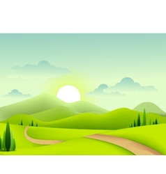 beauty green landscape of sunny morning vector image vector image