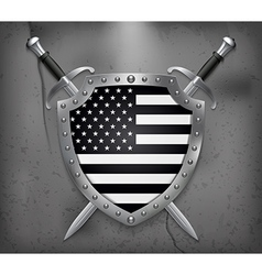 Black and White American Flag Medieval Background vector image vector image