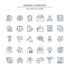 business and marketing thin line icons vector image vector image