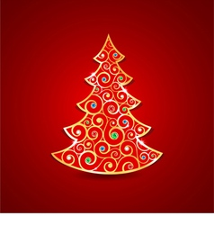 Christmas golden tree vector image vector image